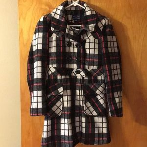 Black and white pea coat